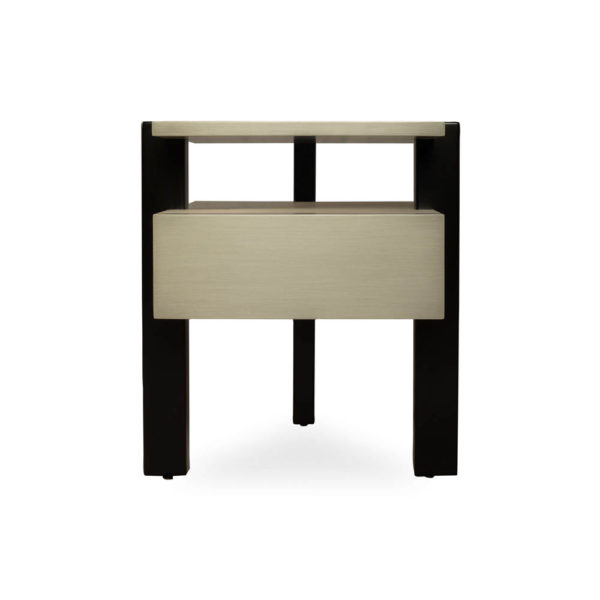 Slava Black and Grey Gloss Bedside Table Side View