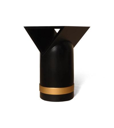 V Borma Round Dark Brown Cylinder Side Table Prespective
