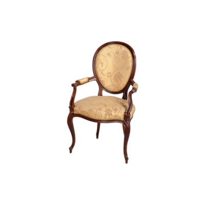 Classical French Style Dining Chairs Upholstered Luxury Fabric