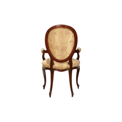 Classical French Style Dining Chairs Upholstered Luxury Fabric Back View