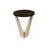 Luca Dark Brown and Cream V Shaped Small Round Side Table 1