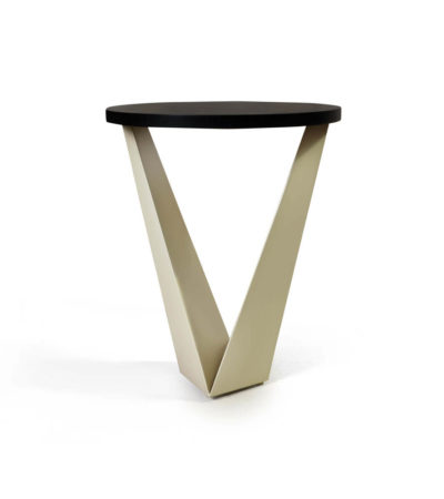 Luca Dark Brown and Cream V Shaped Small Round Side Table Beside