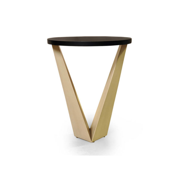 Luca Dark Brown and Cream V Shaped Small Round Side Table Gold