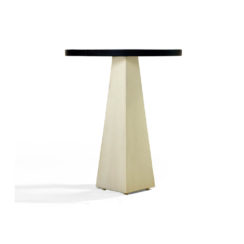 Luca Dark Brown and Cream V Shaped Small Round Side Table View