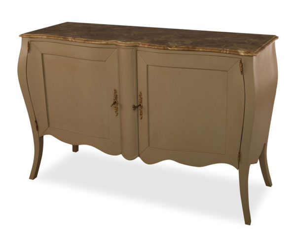 Adagio Beige Wooden with Marble Top Sideboard Side View