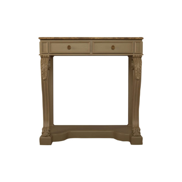 Adalia Wood Beige Two Drawer Console Table with Marble Top