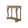Adalia Wood Beige Two Drawer Console Table with Marble Top 4