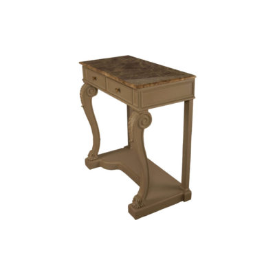 Adalia Wood Beige Two Drawer Console Table with Marble Top View
