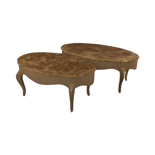 Alivar Oval Wood Marble Top Coffee Table Beside View