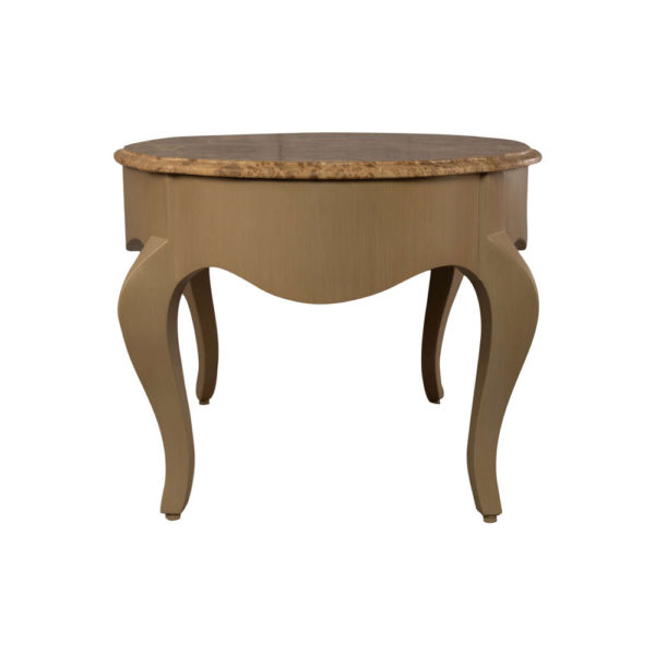 Alivar Oval Wood Marble Top Coffee Table Side View