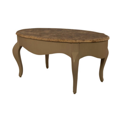 Alivar Oval Wood Marble Top Coffee Table Top View