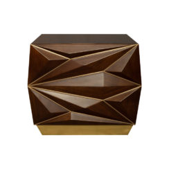 Atlantis Mahogany Brown Bedside Table with Brass Inlay