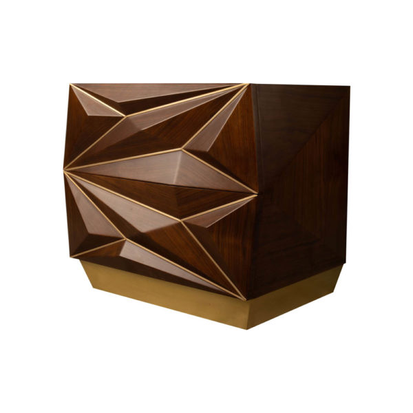 Atlantis Mahogany Brown Bedside Table with Brass Inlay Beside View