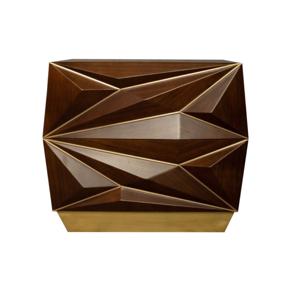Atlantis Mahogany Brown Bedside Table with Brass Inlay Front View