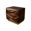 Atlantis Mahogany Brown Bedside Table with Brass Inlay 2