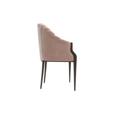 Bogo Upholstered Striped Armchair with Black Legs Right Side View