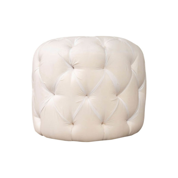 Boho Upholstered Round Tufted Pouf Front View