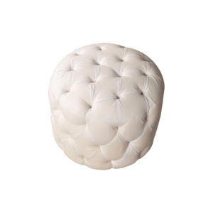 Boho Upholstered Round Tufted Pouf Top View
