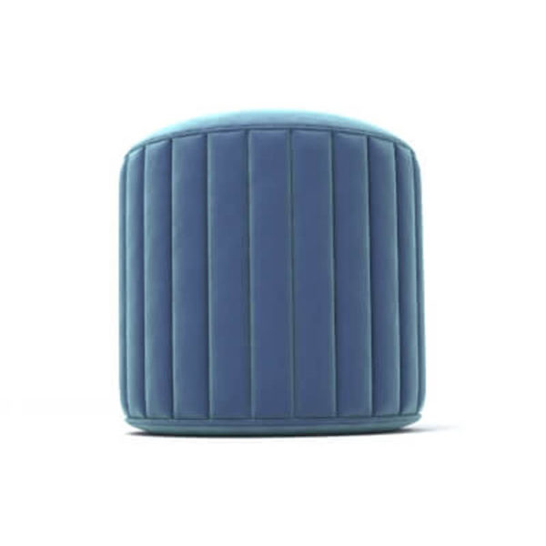 Caren Upholstered Stripped Round Pouf Front View