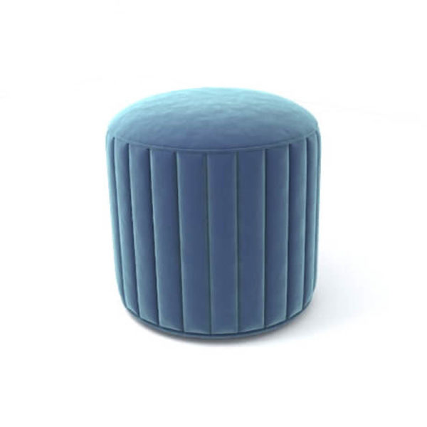 Caren Upholstered Stripped Round Pouf Top View