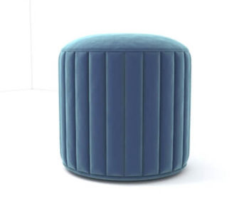 Caren Upholstered Stripped Round Pouf View