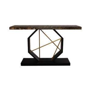 Celina Wood with Marble Brass Console Table