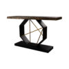 Celina Wood with Marble Brass Console Table 2