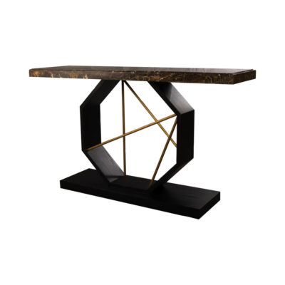 Celina Wood with Marble Brass Console Table Beside View