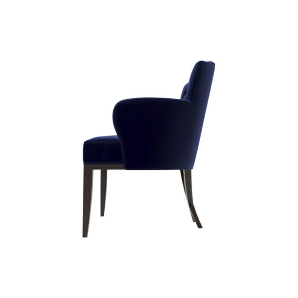 Cross Upholstered Tufted Armchair Left Side View