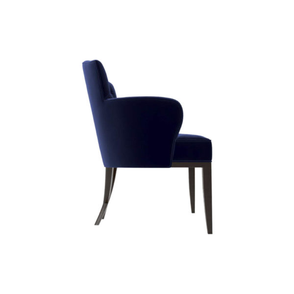 Cross Upholstered Tufted Armchair Right Side View
