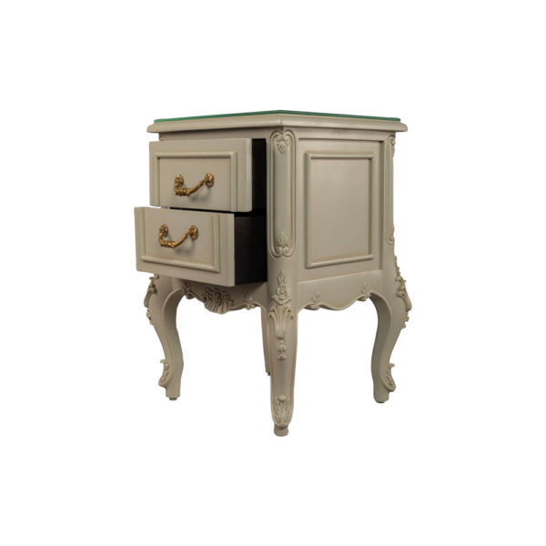 Dixon Wood Light Grey Lacquer Bedside Table Drawers