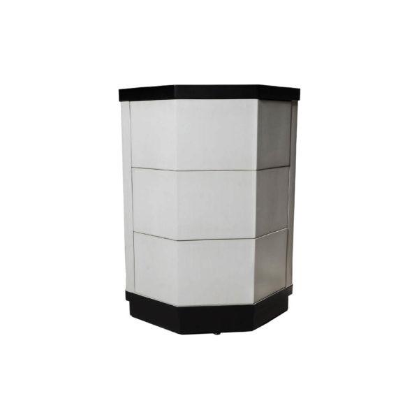Drue Wood Black and Light Grey Bedside Table
