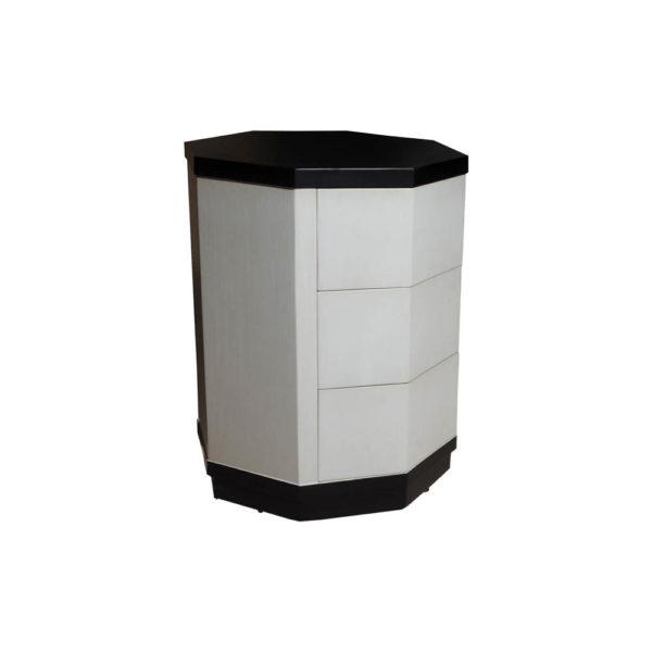 Drue Wood Black and Light Grey Bedside Table Side View