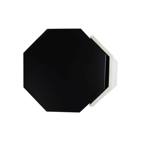 Drue Wood Black and Light Grey Bedside Table Top