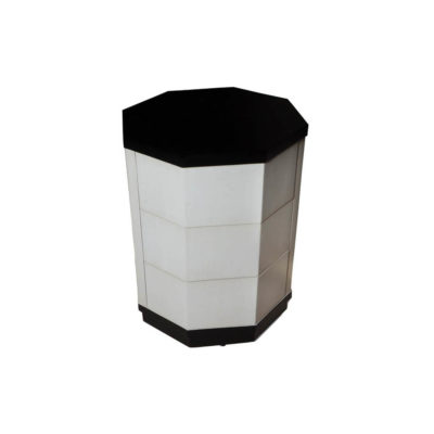 Drue Wood Black and Light Grey Bedside Table Top View