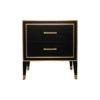 Emma Black Oak Veneer Bedside Table with Brass Inlay 2