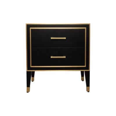 Emma Black Oak Veneer Bedside Table with Brass Inlay