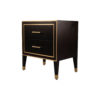 Emma Black Oak Veneer Bedside Table with Brass Inlay 5