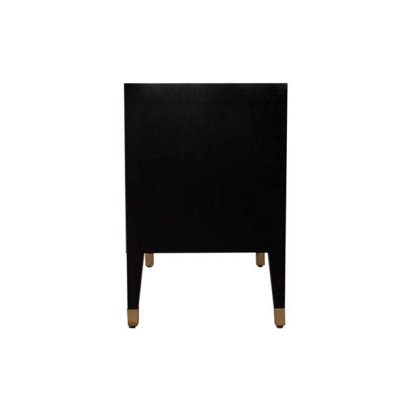 Emma Black Oak Veneer Bedside Table with Brass Inlay Side View