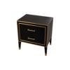 Emma Black Oak Veneer Bedside Table with Brass Inlay 3