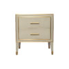 Emma Grey and Wood Bedside Table with Brass Inlay 1
