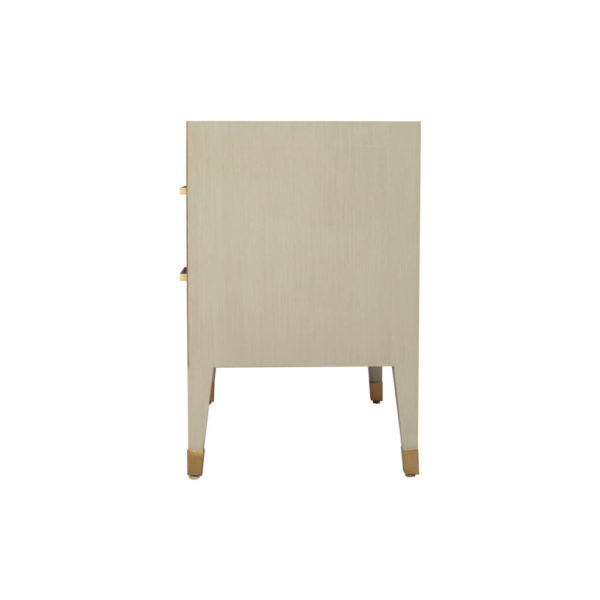 Emma Grey and Wood Bedside Table with Brass Inlay Side View