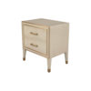 Emma Grey and Wood Bedside Table with Brass Inlay 2