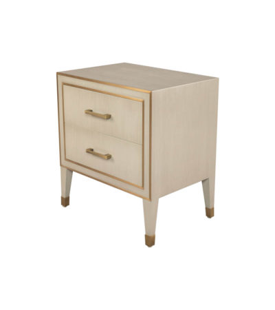 Emma Grey and Wood Bedside Table with Brass Inlay Top View
