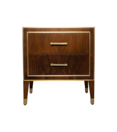 Emma Walnut Bedside Table with Brass Inlay
