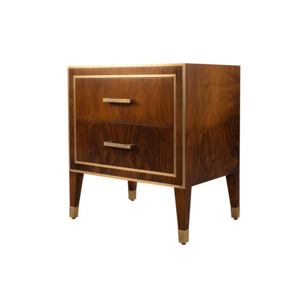 Emma Walnut Bedside Table with Brass Inlay Beside View