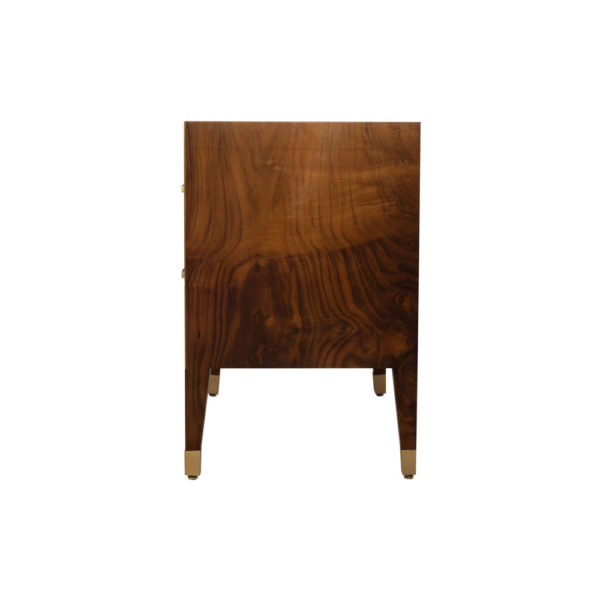 Emma Walnut Bedside Table with Brass Inlay Side View