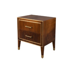 Emma Walnut Bedside Table with Brass Inlay Top View