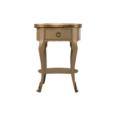Emu Wood with Brass and Glass Side Table