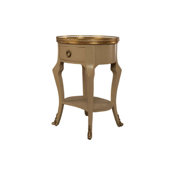 Emu Wood with Brass and Glass Side Table Beside View